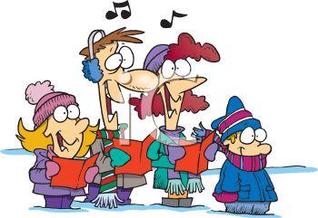Cartoon of a Family Singing Christmas Carols.