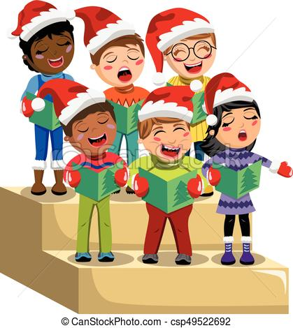 Multicultural kids xmas hat singing Christmas carol choir riser isolated.