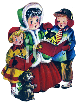 Children Singing Christmas Carols Clip Art.