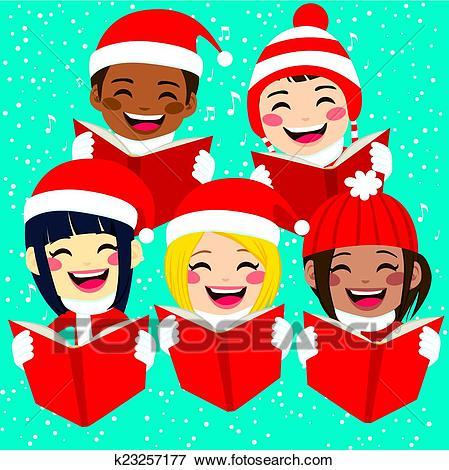 Happy Children Singing Christmas Carols Clip Art.