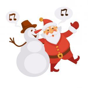 Clipart Christmas Trees Singing Christmas Carols.