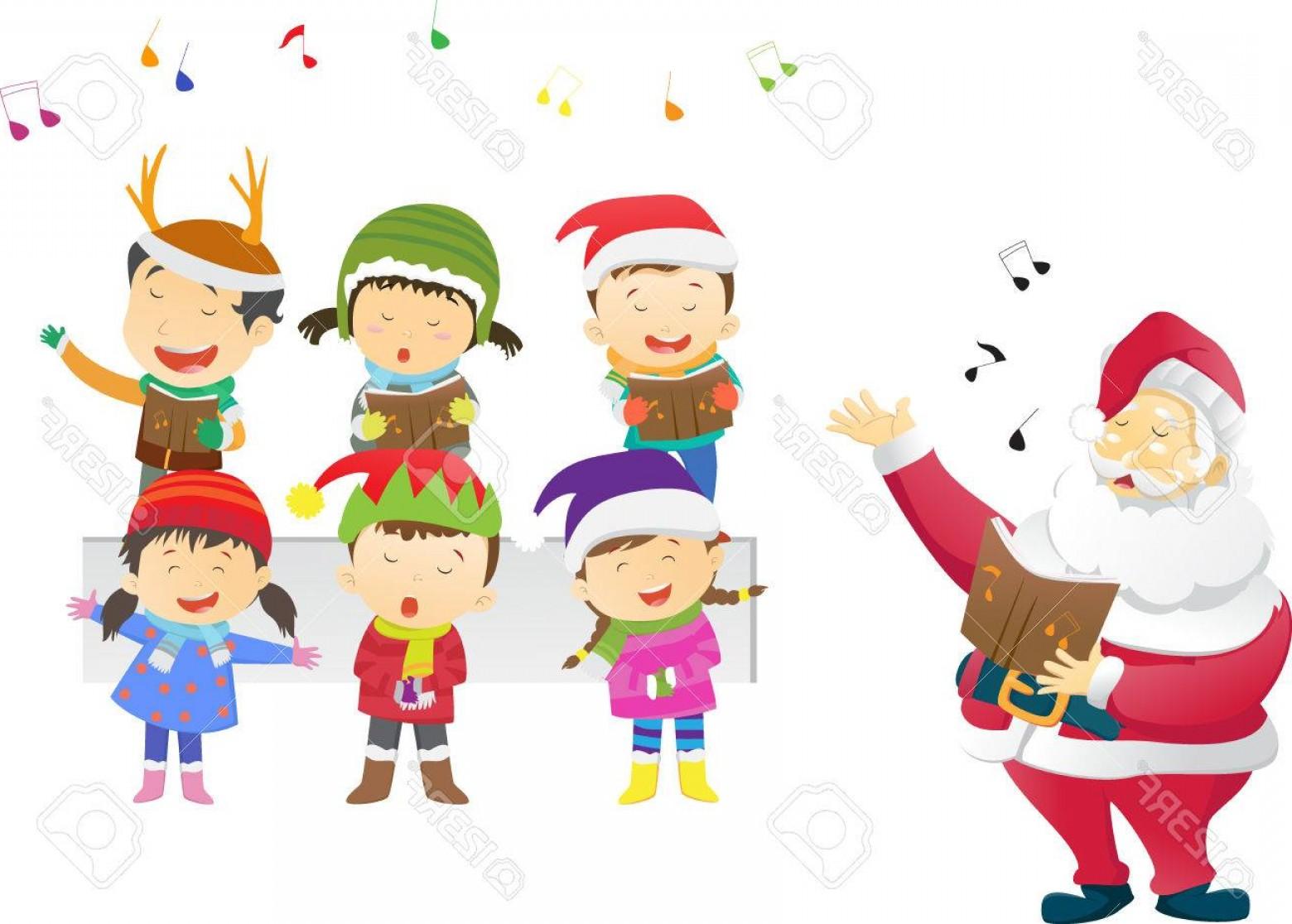 Photostock Vector Kids Singing Christmas Carols With Santa.