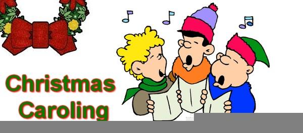 Children Christmas Caroling Clipart.