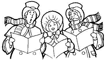 Christmas Carolers Clip Art Black and White.