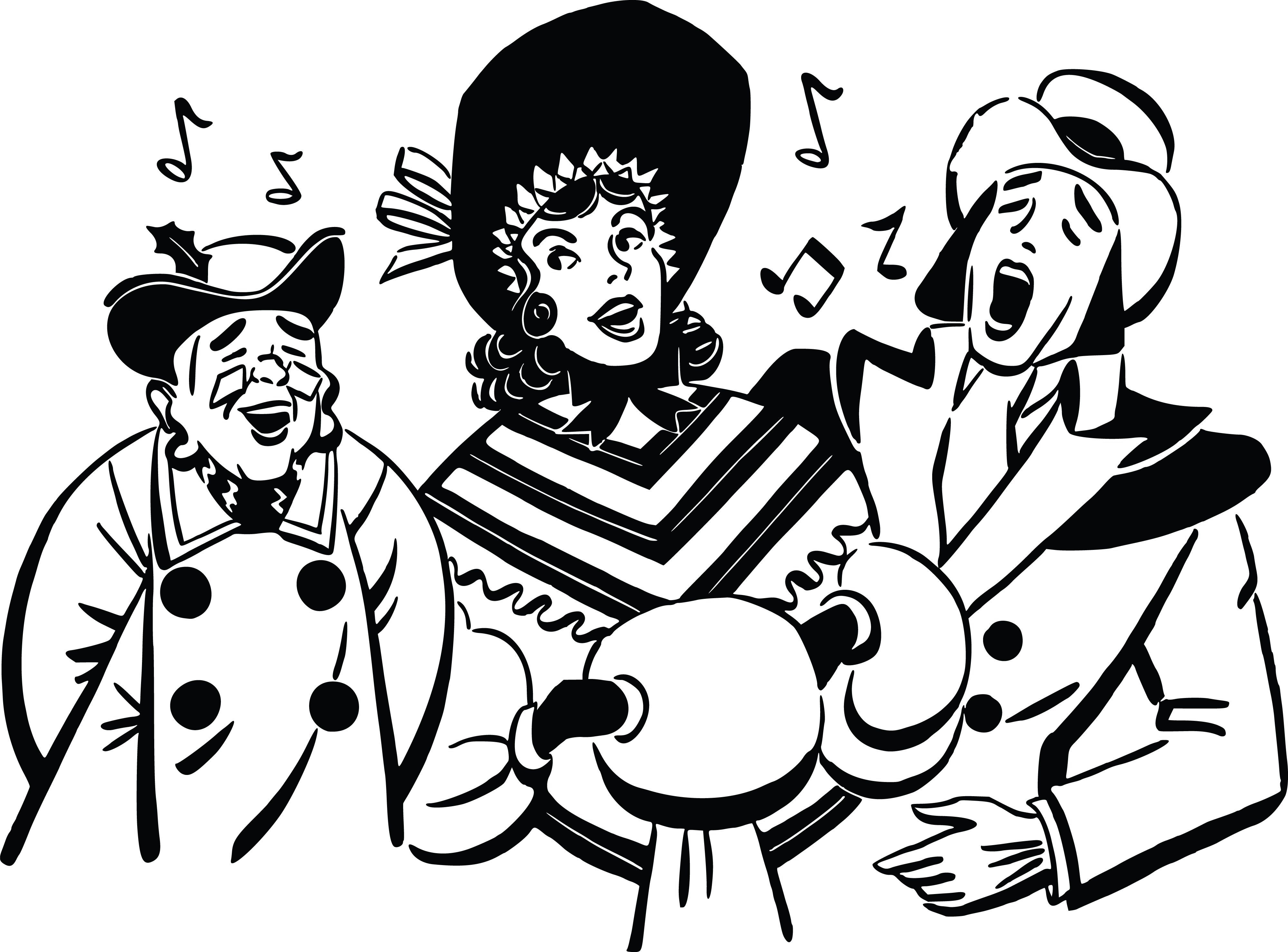 Free Clipart Of A group of christmas carolers.