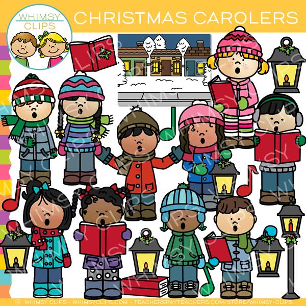 Christmas Caroling Clip Art.