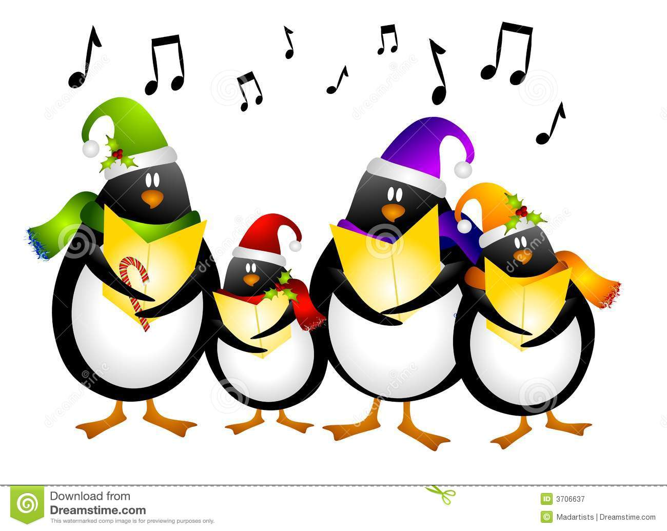 Singing Penguin Christmas Carolers Royalty Free Stock Photography.