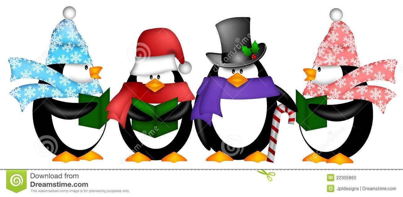Penguins Singing Christmas Carol Cartoon Clipart Stock Illustration.