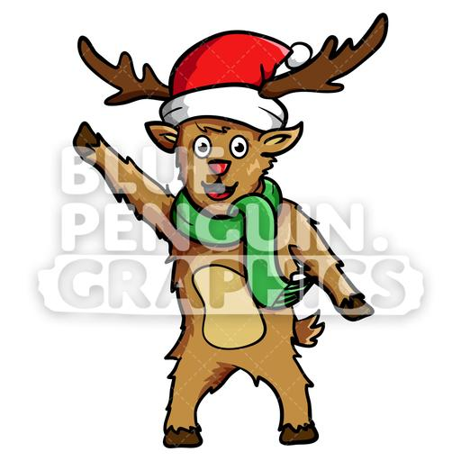 Reindeer Waving Christmas Vector Cartoon Clipart Illustration.