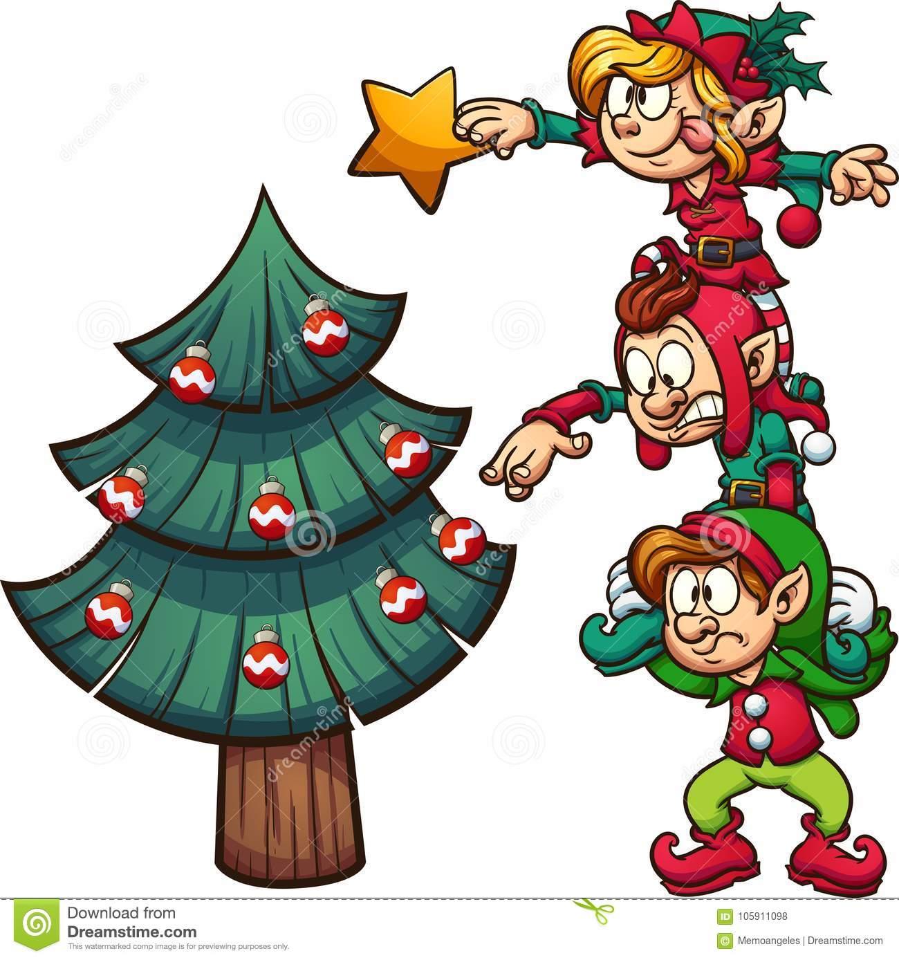 Elves Decorating Christmas Tree Stock Vector.