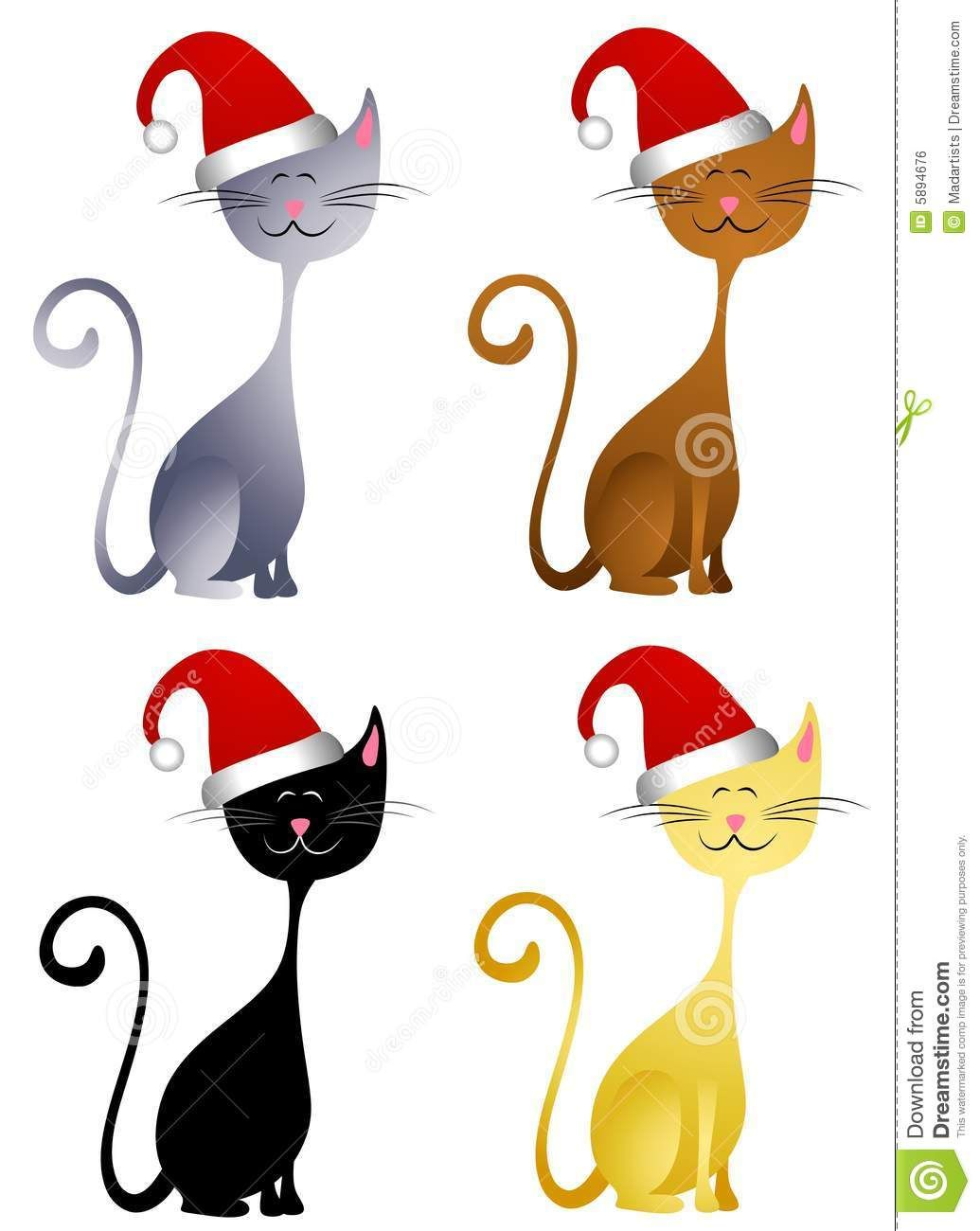 Cat Wearing Christmas Hat Clip Art Free Clipart.