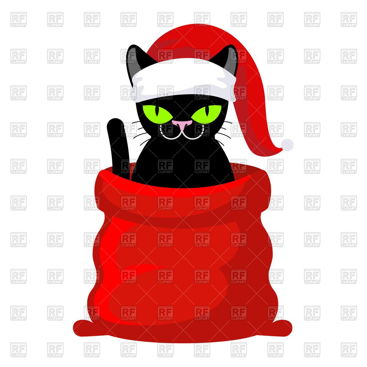Christmas cat in santa cap in red bag Stock Vector Image.