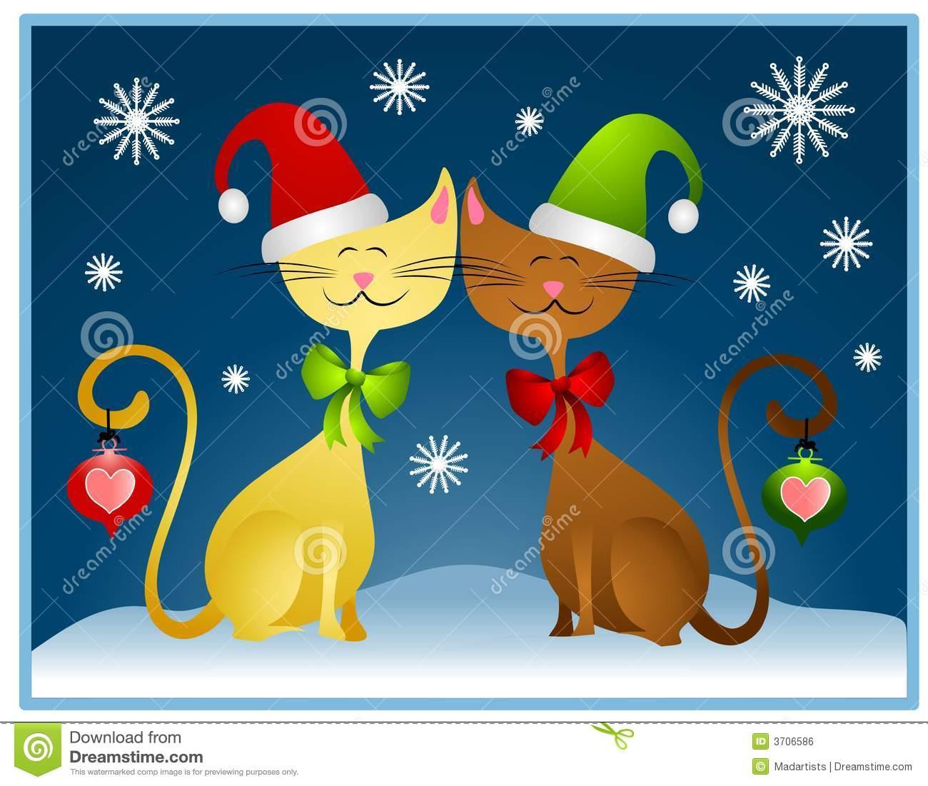 Cartoon Christmas Cats Holiday Card Stock Illustration.