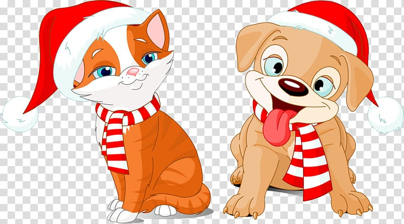 Christmas cats and dogs transparent background PNG clipart.