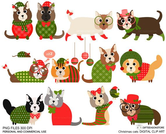 Christmas cat clip art for Personal and Commercial use.