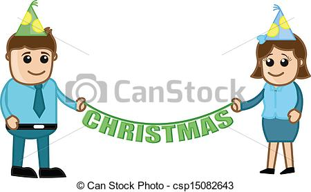 EPS Vector of Christmas Celebration in Office.
