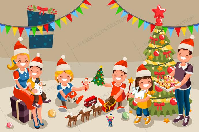 Family Christmas Celebration Clipart.