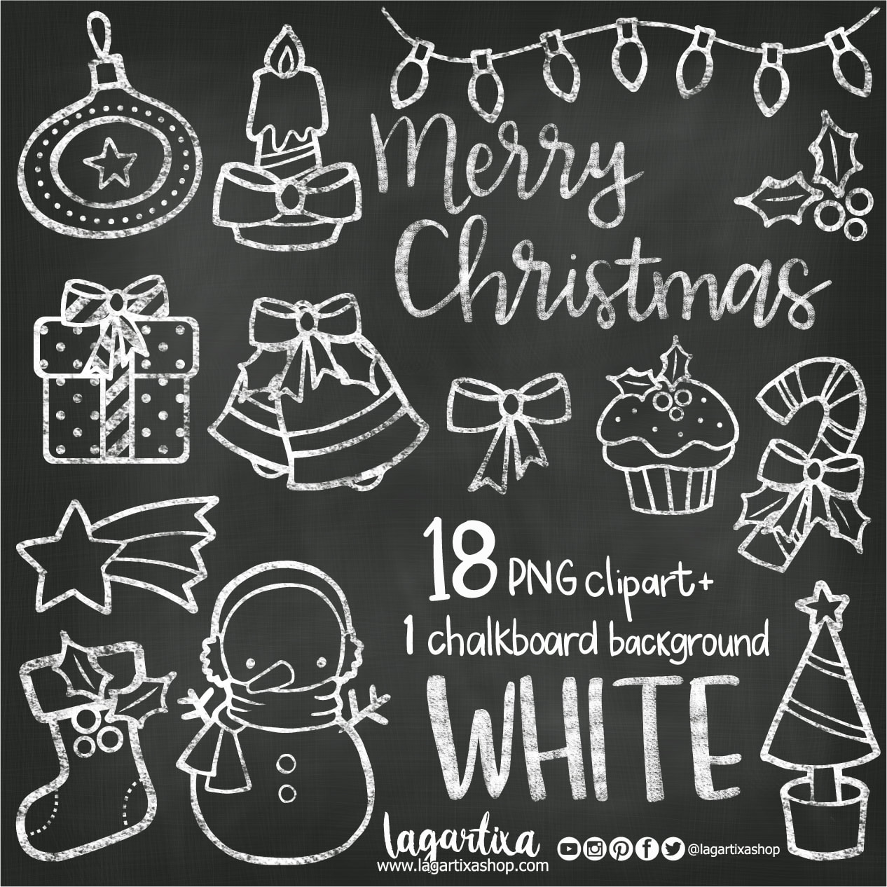 Christmas Chalkboard White Chalk Clipart Snowman Boot Star Christmas Tree  Gifts Snow Flakes Candy Cane Bells Merry Christmas PNG gifts cards.