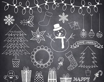 Chalkboard Snowflakes ClipArt \