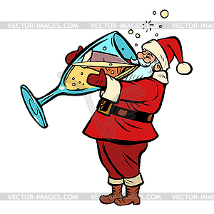 Santa Claus drinks champagne. Christmas and New year.