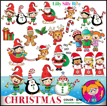 CHRISTMAS CHEER Clipart. BLACK AND WHITE & Color Bundle. {Lilly Silly Billy}.