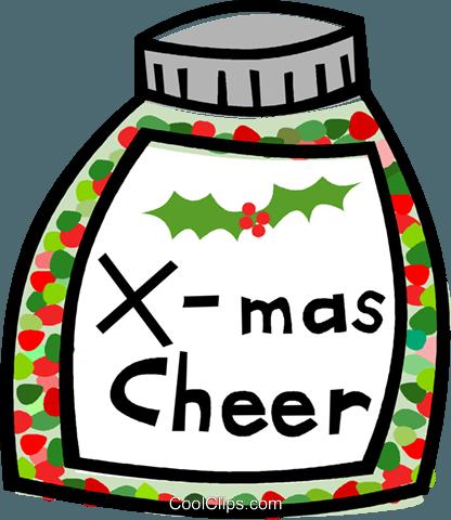bottle of Christmas cheer Royalty Free Vector Clip Art illustration.