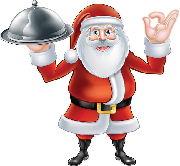 Santa Chef Christmas Dinner Concept Clip Art, Vector Images.