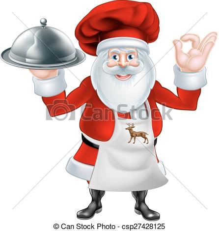 Clipart Vector of Santa Chef Christmas dinner 2015 B1.