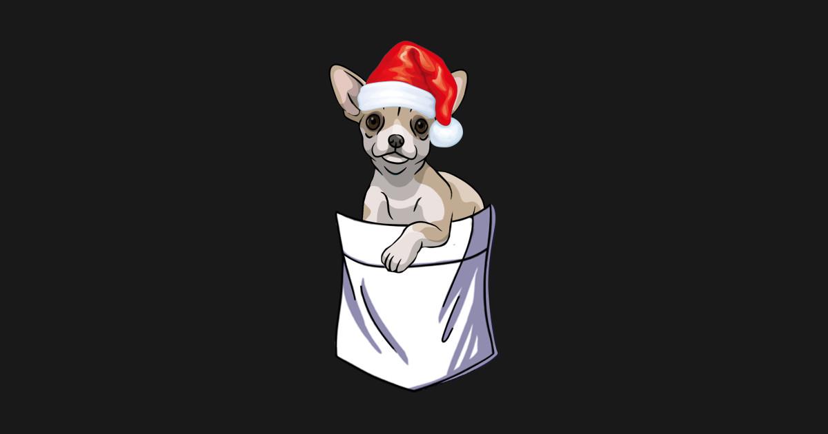 Santa Chihuahua Pocket Funny Christmas by teeanimals.