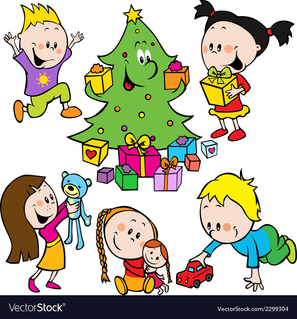Children playing with toys and christmas tree.