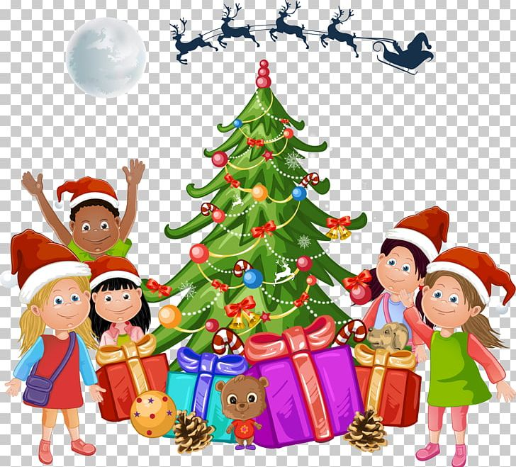 Cartoon Christmas Tree Next To The Children PNG, Clipart.