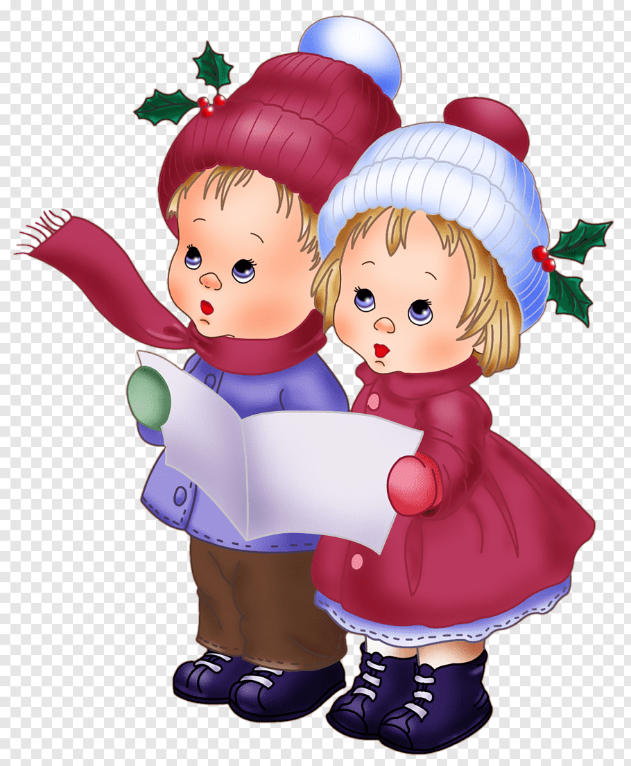 Boy and girl holding paper illustration, Doll Christmas.
