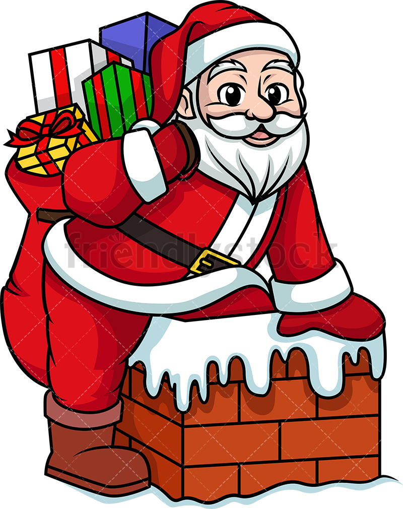 Santa Claus Getting Into A Chimney.