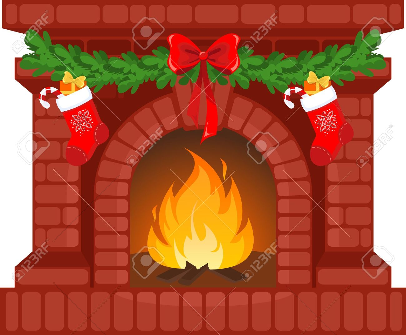 Vector illustration of Christmas fireplace with socks.
