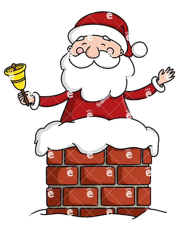 Cheerful Santa Claus In A Chimney Ringing A Christmas Bell.