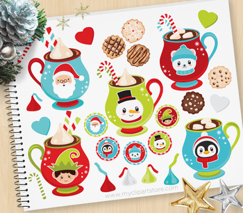 Hot Chocolate Clipart, Christmas, Cookies, Santa Clause.