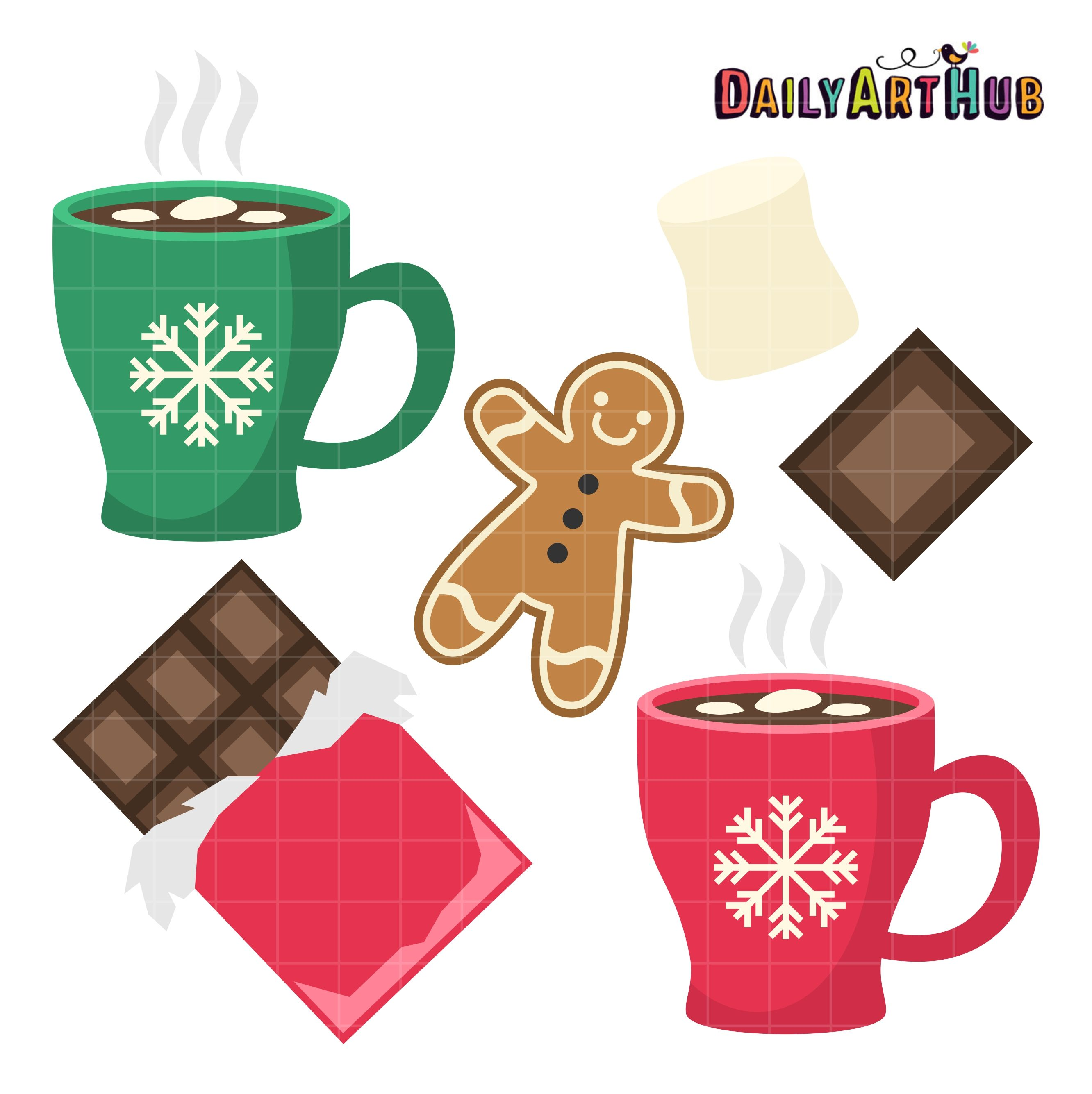 Hot Chocolate Clip Art Set.