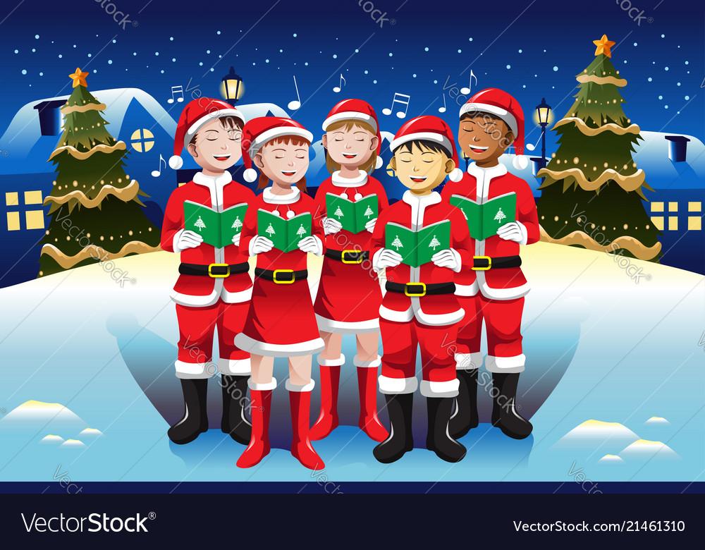 Children singing in christmas choir.