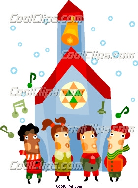 Children singing Christmas carols Vector Clip art.