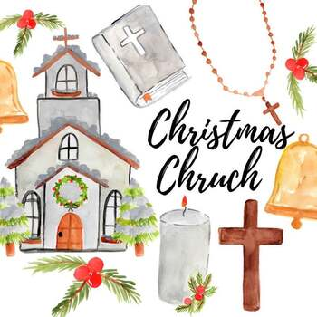 Watercolor christmas church clipart.