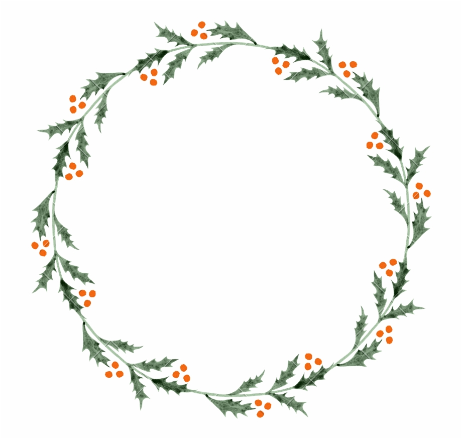 Christmas Holly Round Circle.