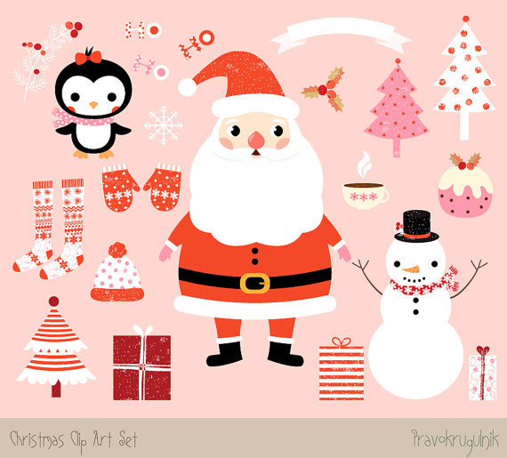 Kawaii Christmas clipart images, Cute Christmas clip art set, Santa.