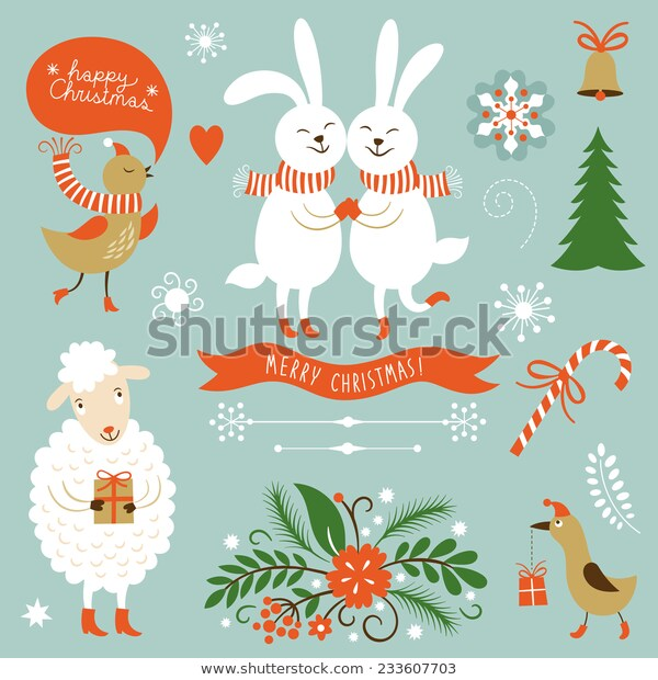 Christmas Clip Art Letering Graphic Characters Stock Vector (Royalty.