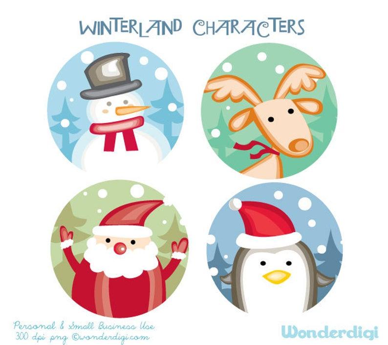 Christmas Clip Art Round Labels Xmas Clip art Santa Snowman Reindeer  Penguin Illustration.