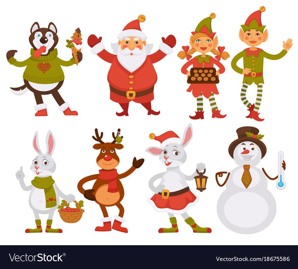 Christmas santa friends cartoon characters.