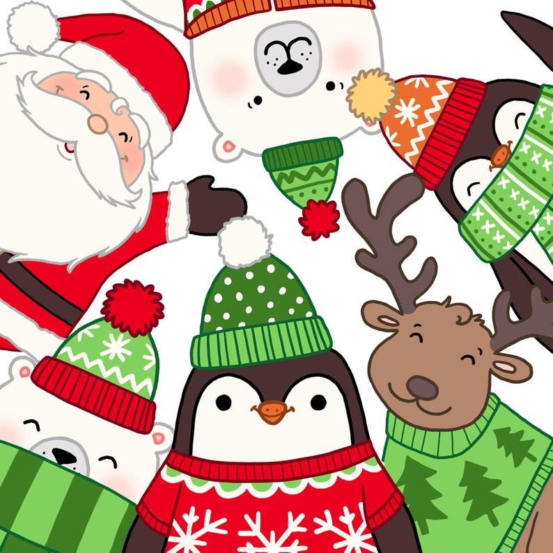 Christmas Clip Art, Cute Characters Christmas Set, Digital Clip Art,  Christmas clipart, Commercial use, Rudolf, Santa, Father Christmas.