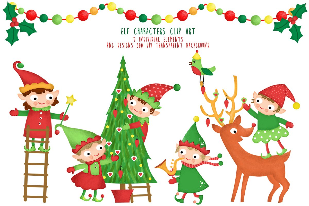 Elf Characters Clipart Santa Helpers.