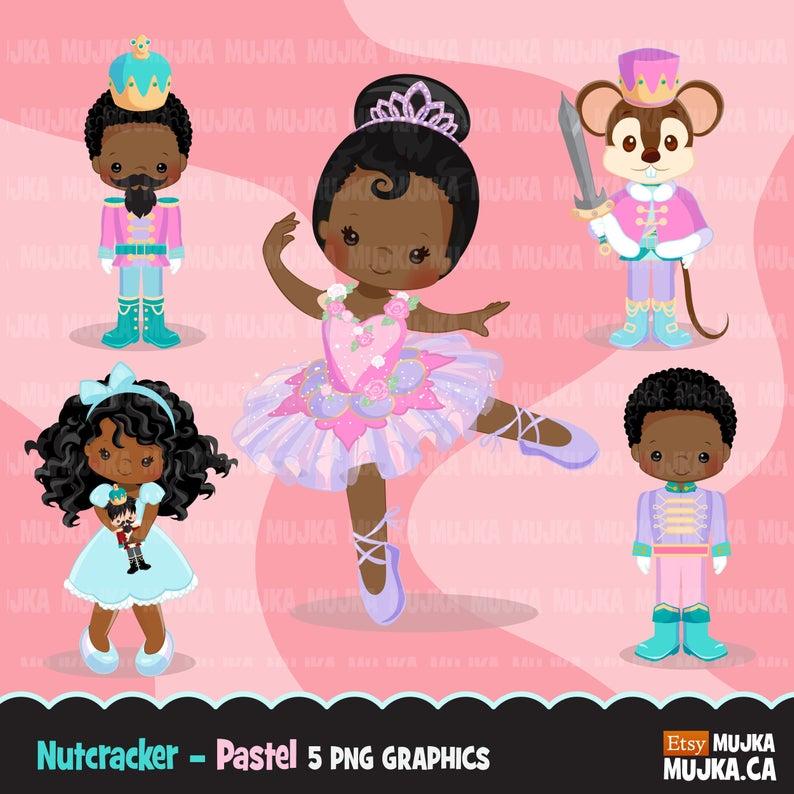 Christmas clipart, Nutcracker ballet characters pastel, African American  Mouse King, Sugar Plum fairy, prince, Clara, Christmas ballet.