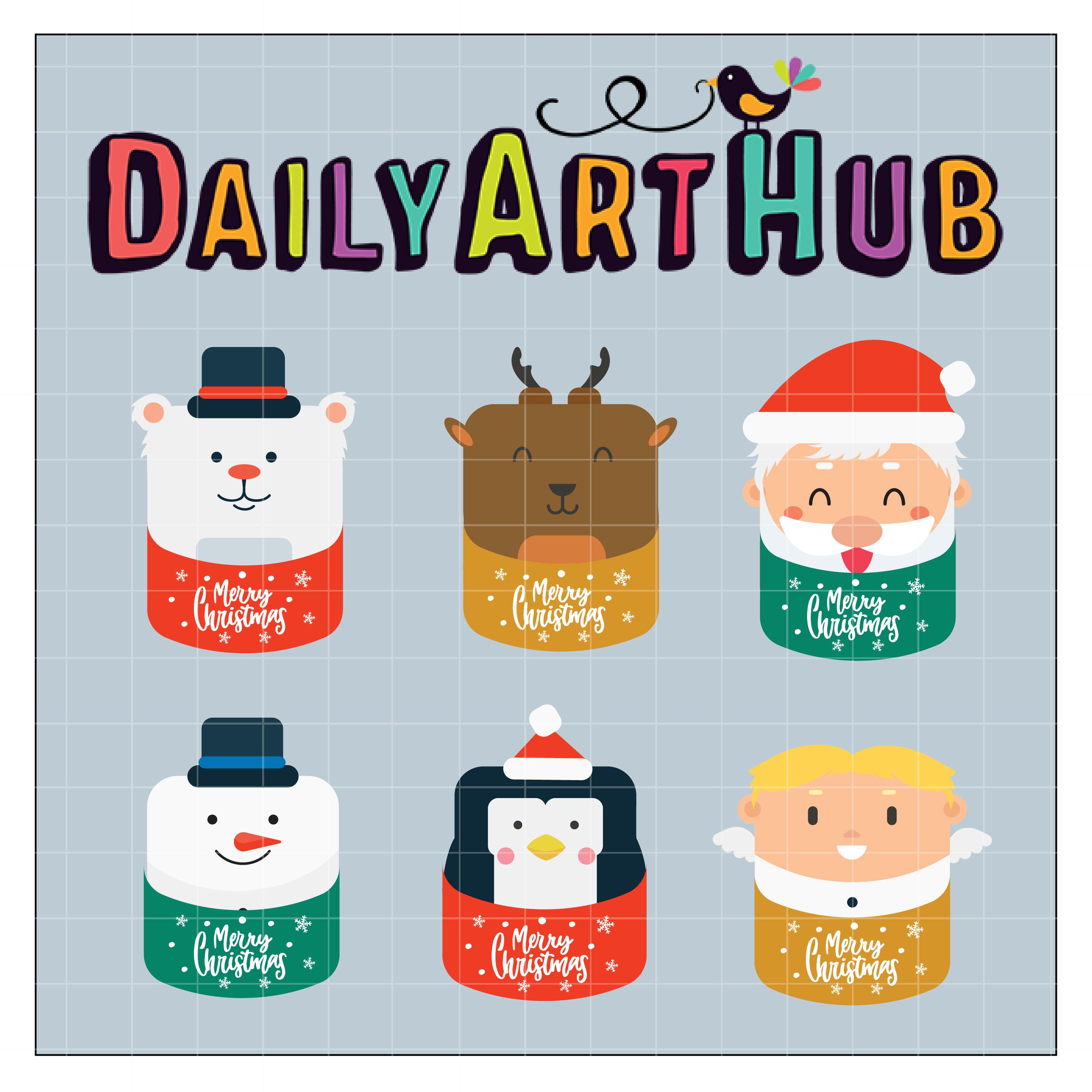 Cute Christmas Characters Clip Art Set.