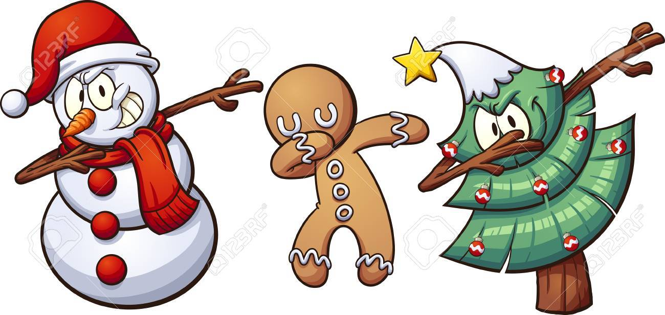 Christmas dabbing characters. Vector clip art illustration with...